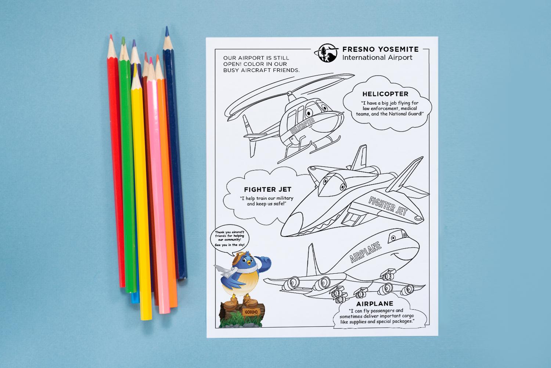 Aircraft coloring page horizontal